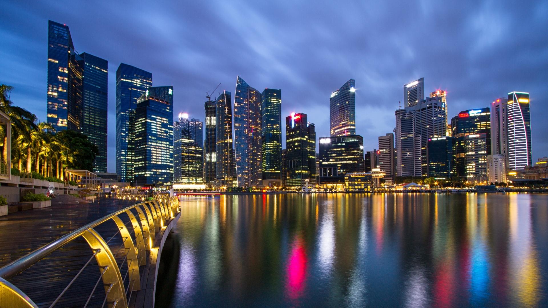 Malaysia Singapore City State Metropolis Skyscrapers Night Lights Light Blue Sky Bridge Embankment Spilling 58644 1920x1080