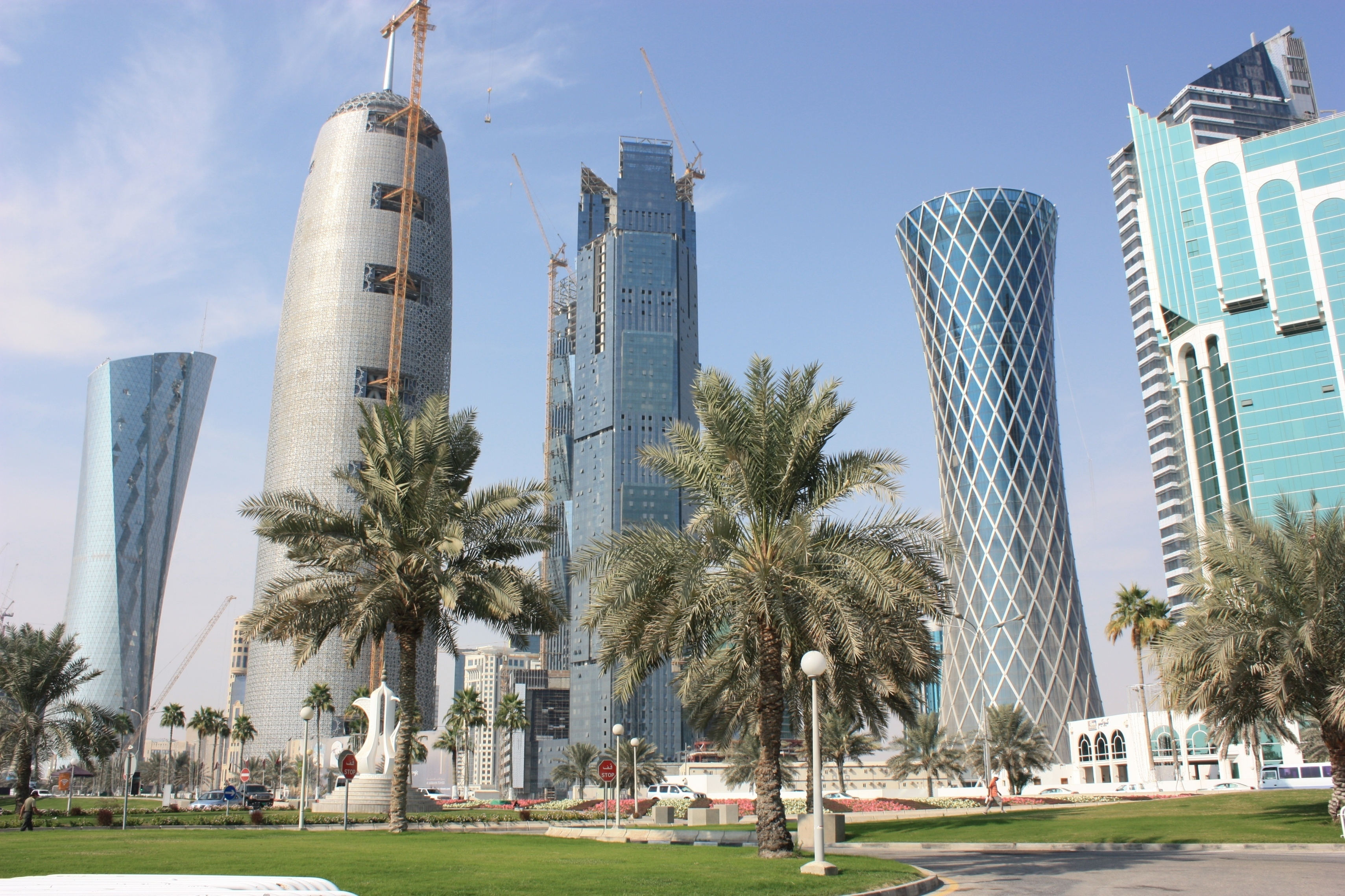 Qatar Doha City Buildings Palm Trees Skyscrapers 59476 3418x2278